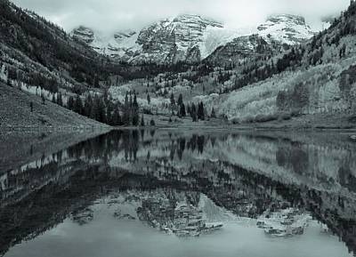 Photograph - Monochrome Maroon Bells Reflection by Dan Sproul