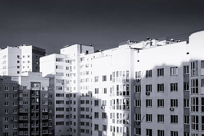 Photograph - Monochrome Massive Apartments by John Williams