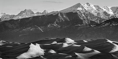 Photograph - Monochrome Morning Sand Dunes And Snow Covered Peaks by James BO Insogna