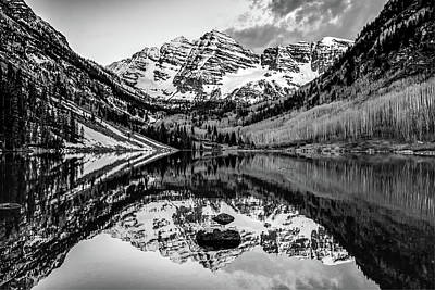 Photograph - Monochrome Mountain Landscape Reflections - Aspen Colorado Maroon Bells by Gregory Ballos