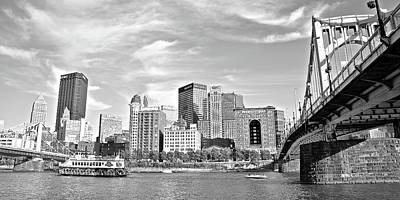 Photograph - Monochrome Pittsburgh Panorama by Frozen in Time Fine Art Photography