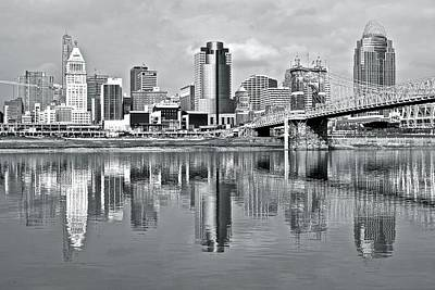 Photograph - Monochrome Reflection In Cinci by Frozen in Time Fine Art Photography