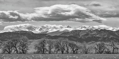 Photograph - Monochrome Rocky Mountain Front Range Panorama Range Panorama by James BO Insogna