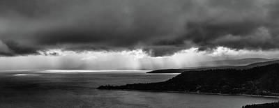 Monochrome Storm Panorama Art Print