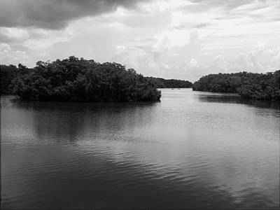 Photograph - Monochrome Tampa Bay Inlet   by Chris Mercer