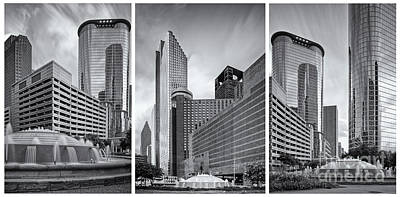 Hyatt Hotel Photograph - Monochrome Triptych Of Downtown Houston Buildings - Harris County Texas by Silvio Ligutti