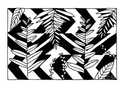 Abstraction Drawing - Monochrome Tropics by Konstantin Sevostyanov