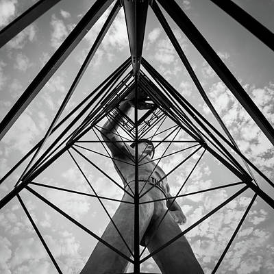 Photograph - Monochrome Tulsa Driller From Down Under - Oklahoma Square Art by Gregory Ballos