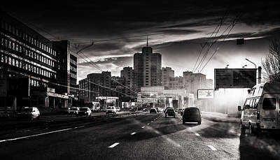 Photograph - Monochrome Urban Russian Highway And Sunrays by John Williams