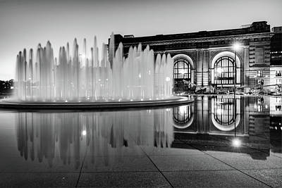 Photograph - Monochrome Waters And Union Station - Kansas City by Gregory Ballos