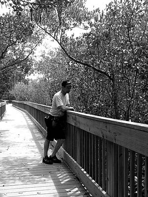 Photograph - Monochrome Weedon Island Boardwalk  by Chris Mercer