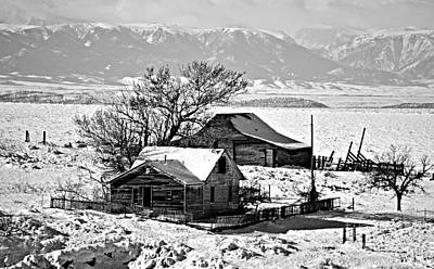 Photograph - Monochrome Winter Postcard Greeting by Chalet Roome-Rigdon