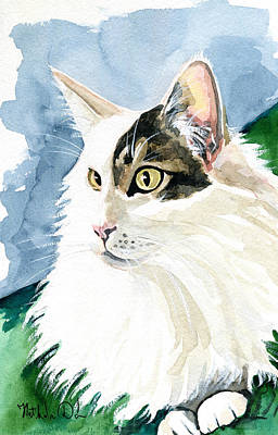 Painting - Monocle - Fluffy Long Haired Cat Portrait by Dora Hathazi Mendes