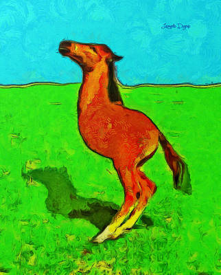 Whippet Digital Art - Monohorse Baby Over Grass - Da by Leonardo Digenio