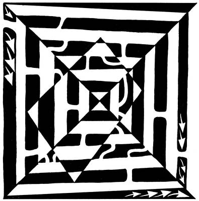 Monolith Drawing - Monolith Maze Optical Illusion by Yonatan Frimer Maze Artist