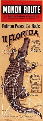 Crocodile Wall Art - Mixed Media - Monon Route - Pullman Palace Car Route To Florida - Retro Travel Poster - Vintage Poster by Studio Grafiikka