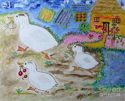 Goslings Painting - Monoparentale / Single Parent by Dominique Fortier