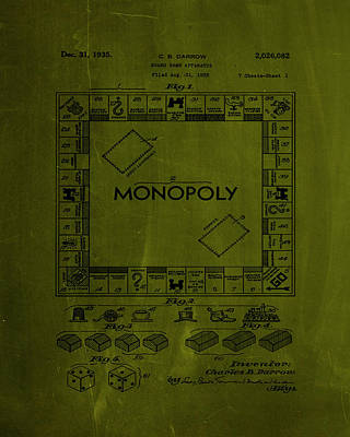 Finance Mixed Media - Monopoly Board Game Patent Drawing 1a by Brian Reaves