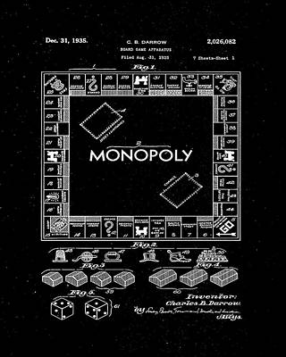 Finance Mixed Media - Monopoly Board Game Patent Drawing 1c by Brian Reaves