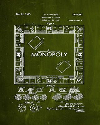 Board Game Mixed Media - Monopoly Board Game Patent Drawing 1d  by Brian Reaves