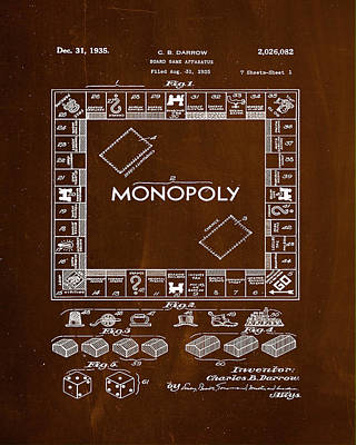 Finance Mixed Media - Monopoly Board Game Patent Drawing 1e by Brian Reaves