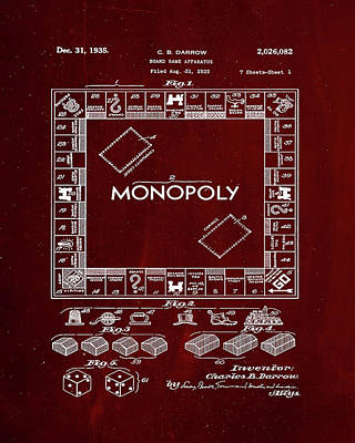 Finance Mixed Media - Monopoly Board Game Patent Drawing 1f by Brian Reaves