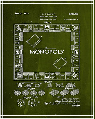 Finance Mixed Media - Monopoly Board Game Patent Drawing 1g by Brian Reaves