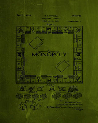Finance Mixed Media - Monopoly Board Game Patent Drawing 1h by Brian Reaves