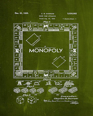 Finance Mixed Media - Monopoly Board Game Patent Drawing 1i by Brian Reaves