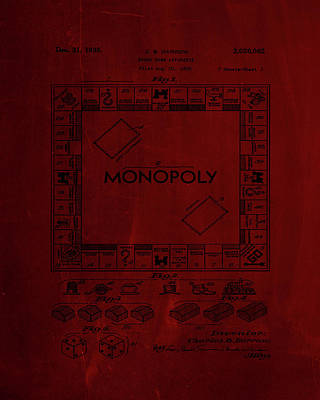 Board Game Mixed Media - Monopoly Board Game Patent Drawing 1j by Brian Reaves