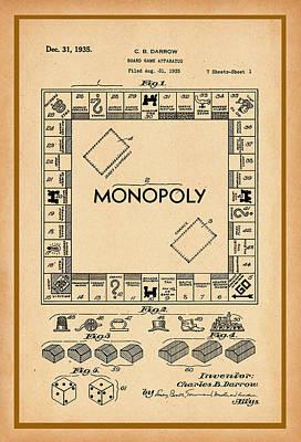 Digital Art - Monopoly Patent Drawing by Carlos Diaz