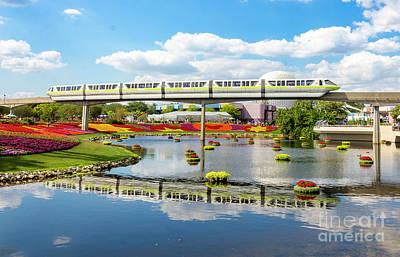 Monorail Cruise Over The Flower Garden. Art Print