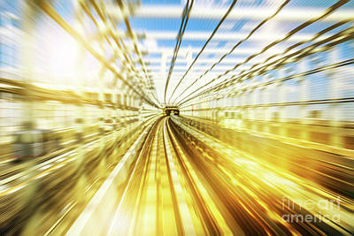 Photograph - Monorail Tunnel Blurred by Benny Marty