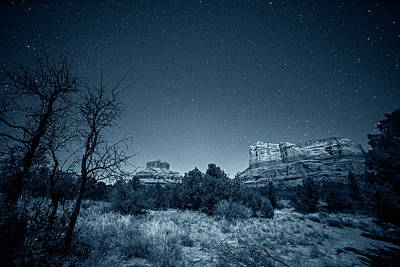 Photograph - Monochrome Blue Nights Starry Sky Over Bell Rock In Sedona Az Arizona by Toby McGuire
