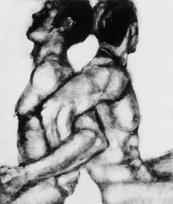Nude Men Wrestling Painting - Monotype Series 21 by John Clum