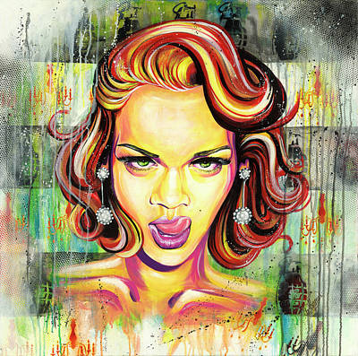 Rihanna Painting - Monroe Gone Bad by Aramis Hamer