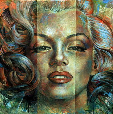 Painting -  Monroe In Blue by Arthur Braginsky