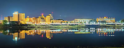 Monroe Louisiana City Skyline At Night Art Print