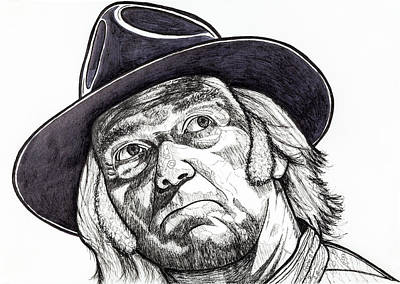 Neil Young Drawing - Monsanto Fears Sketch by Steven Hart - Hart Creations