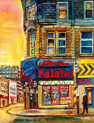 Afterschool Hockey Montreal Painting - Monsieur Falafel by Carole Spandau