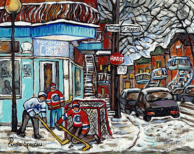 Painting - Monsieur Hot Dog Montreal Winter In The City Streetscene Hockey Art Paintings For Sale C Spandau Art by Carole Spandau