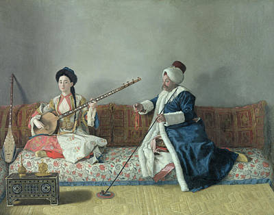 Pipe Painting - Monsieur Levett And Mademoiselle Helene Glavany In Turkish Costumes by Jean Etienne Liotard