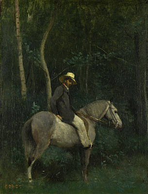 Still Life Painting - Monsieur Pivot On Horseback by Camille Corot