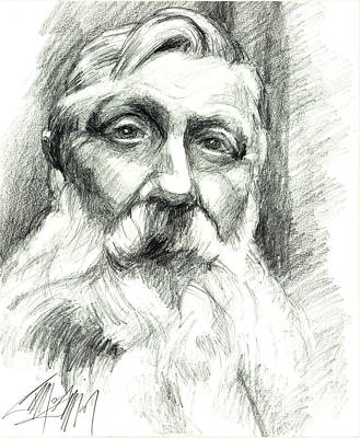 Drawing - Monsieur Rodin by James Simon