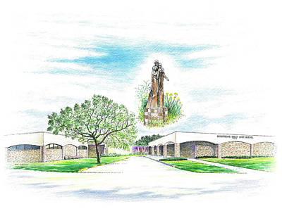 Drawing - Monsignor Kelly Catholic High School by Randy Welborn