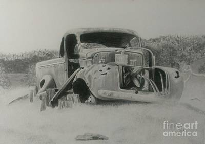 Rusted Cars Drawing - Monsildale Truck by Robyn Garnet