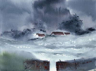 Painting - Monsoon 2018 -4 by Anil Nene