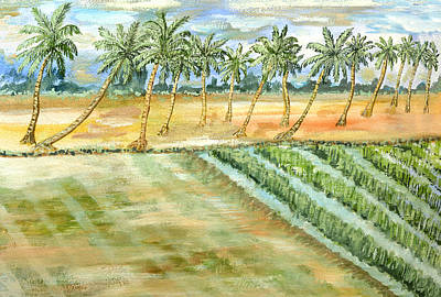 Soil Drawing - Monsoon At Field View - Kerala by Thecla Correya