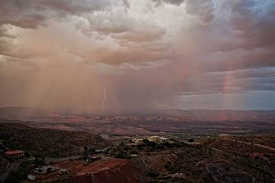 Art Print featuring the photograph Monsoon Lightning And Rainbow by Ron Chilston