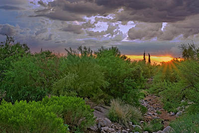 Art Print featuring the photograph Monsoon Sunset H56 by Mark Myhaver